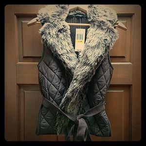 XOXO Posh Mixed Fabrics Vest with Tie NWT